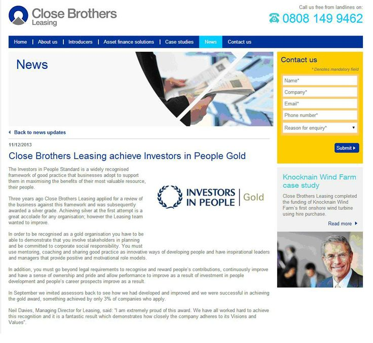 Close Brothers Leasing achieves IIP Gold
