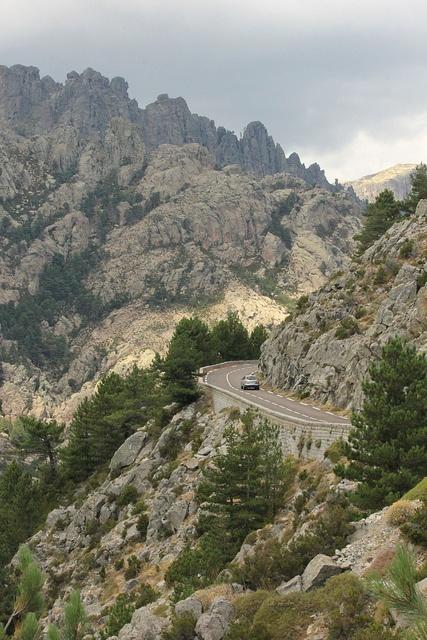 La Corse by bersli, via Flickr. Corsica road and mountains.