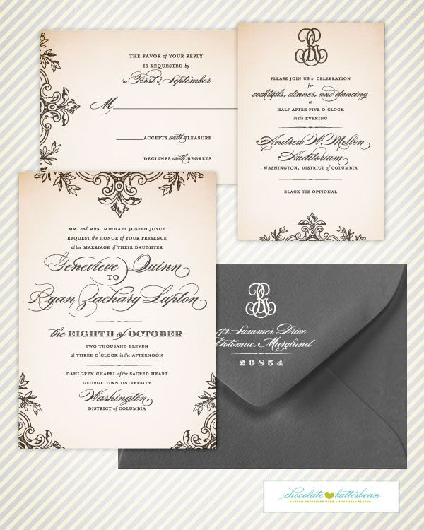 So elegant. Love the different fonts they used. You could do them in green and ivory?