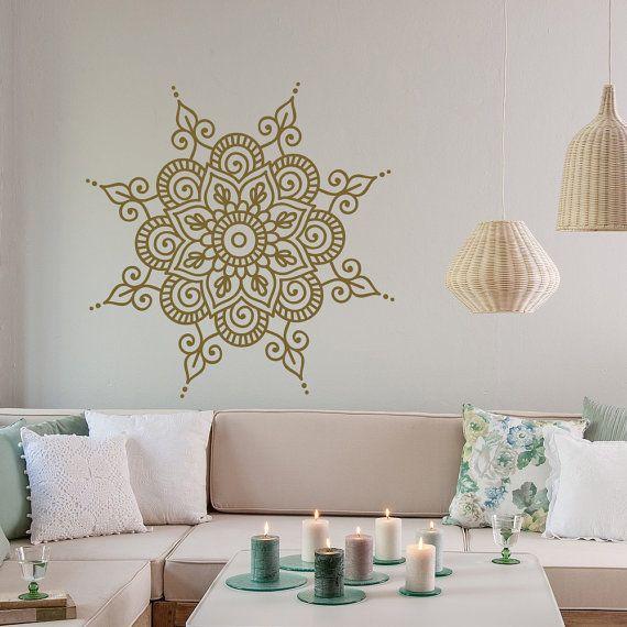 Mandala Wall Decal Vinyl Sticker- Mandala Wall Art Boho Bohemian Morrocan Ornament Bedroom Decor- Indian Mandala Yoga Studio Wall Decor #42