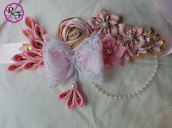 Pink and gold baby shower  maternity sash / Baby by RainOfFlowers