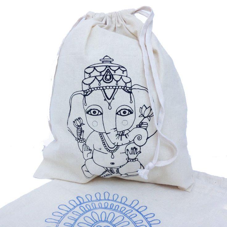 Ganesha Screen Print Unbleached Cotton Drawstring Bag by ArtThatMoves on Etsy