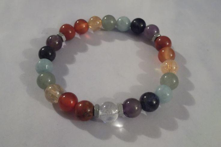 7 Chakra Gemstone Healing Stretch Bracelets,Yoga Bracelet by HealingAuras on Etsy