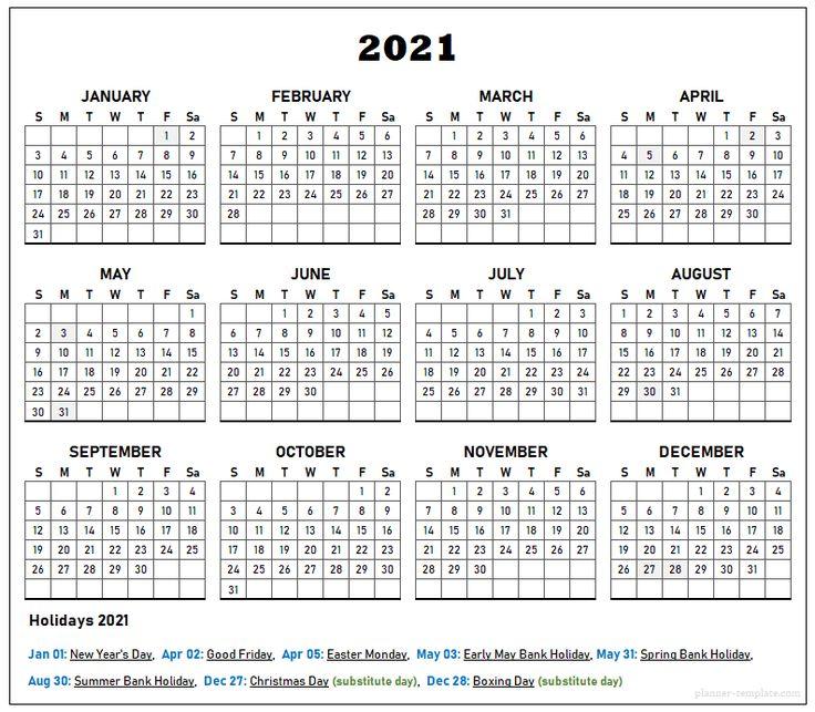UK Holiday 2021 Calendar Template School, Bank, Public