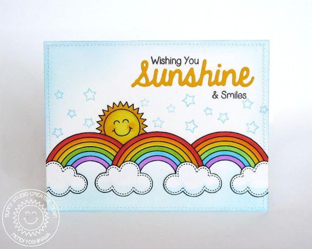 Sunny Studio Stamps Rain or Shine & Sunny Sentiments Rainbow Card