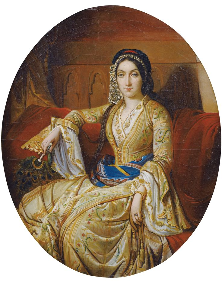 'Young woman in a Turkish (late-Ottoman) Entari '.  French school, 19th century.  Oil on canvas. (Pharyah)