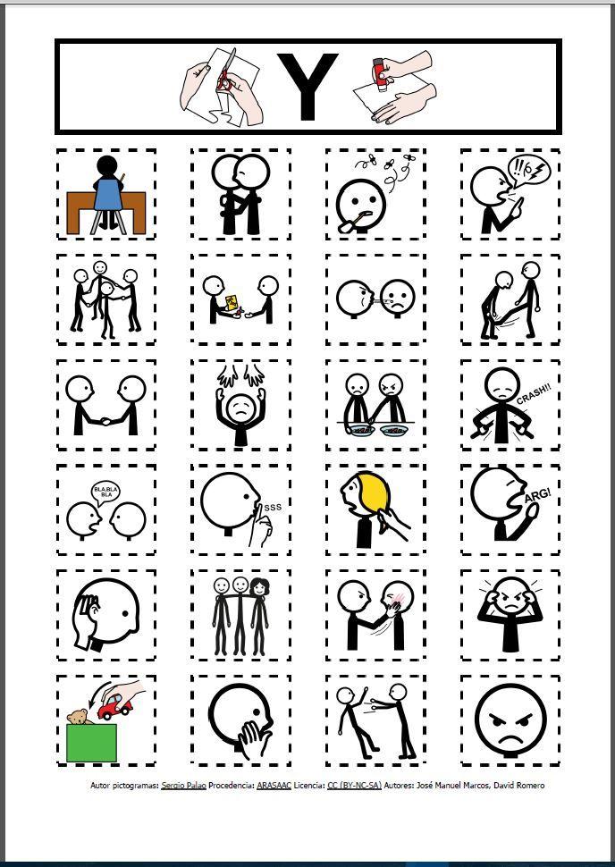 Tableros con pictogramas de ARASAAC para trabajar la regulación de la conducta y el autocontrol a partir de la identificación y evocación de las conductas adecuadas / inadecuadas.