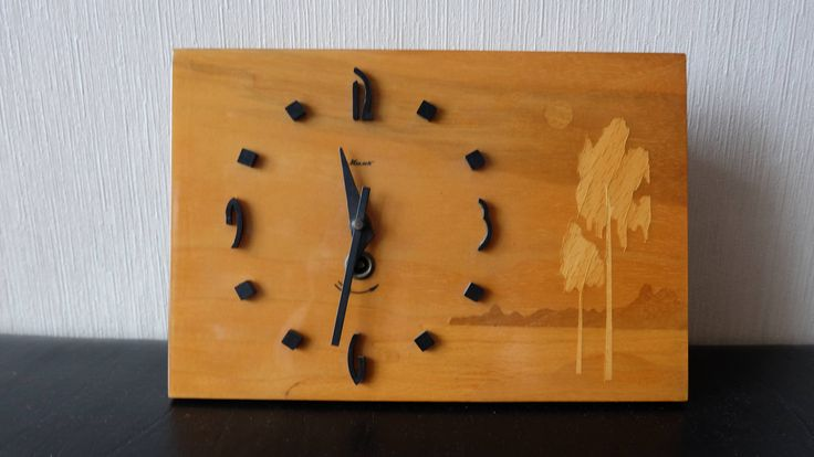 Working Wall Clock, Soviet Vintage Wooden Clock MAYAK, Wooden Marquetry Inlay Mechanical Clock, Hanging Clock, Light Wood Intarsia Clock by RAGMAN770 on Etsy