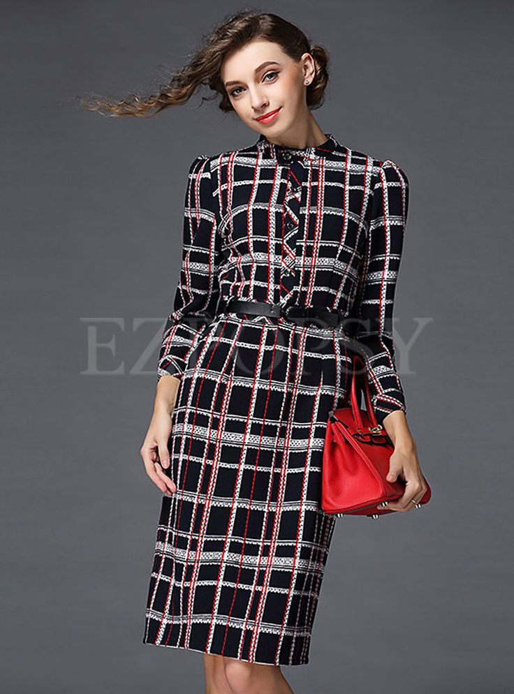 Shop for high quality Fashion Single Breasted Slim Plaid Dress online at cheap prices and discover fashion at Ezpopsy.com