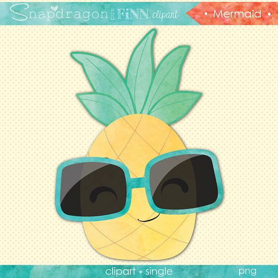 Pineapple Clipart, Watercolor pineapple clipart, watercolor pineapple graphic, cute pineapple with sunglasses, Commercial License Included
