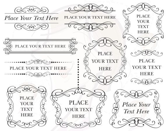 Items Similar To Ornate Frame Vector Retro Vintage Wedding Bridal Shower Decorations Clip Art Scrapbook Craft Supply Commercial Use Eps Jpeg Png Files 10320