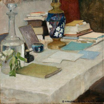 Still Life with Books by Pekka Halonen (Finish 1865 – 1933)