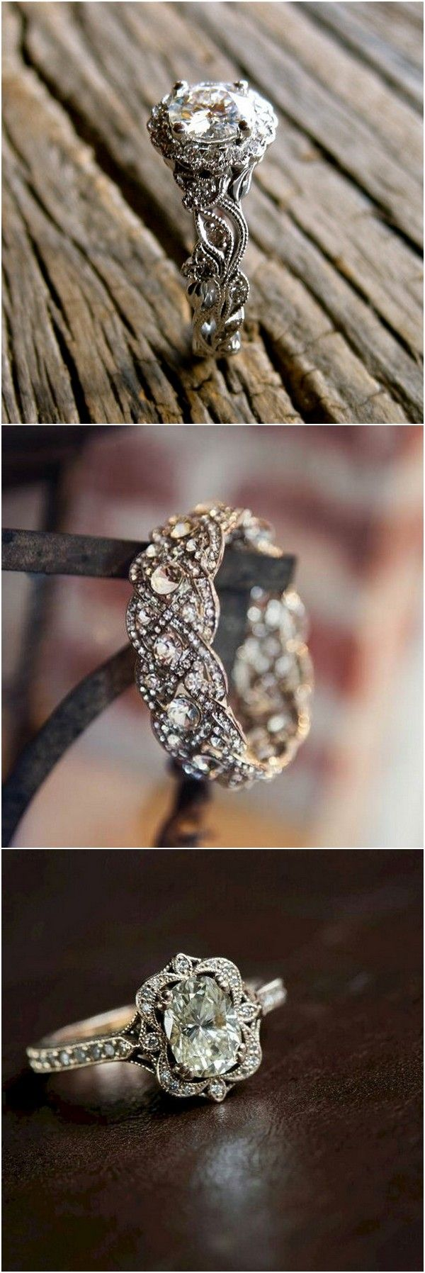 Vintage inspired wedding engagement rings #wedding #weddingrings #engagementrings
