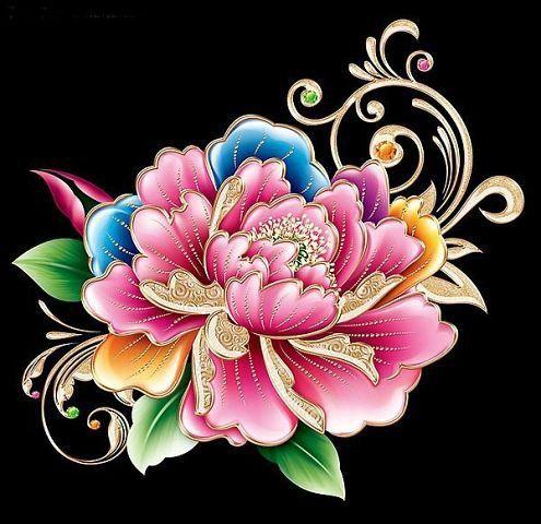 Пионы на черном фоне - 60 цветов - Схемы вышивки - delikiz - Авторы - Портал…