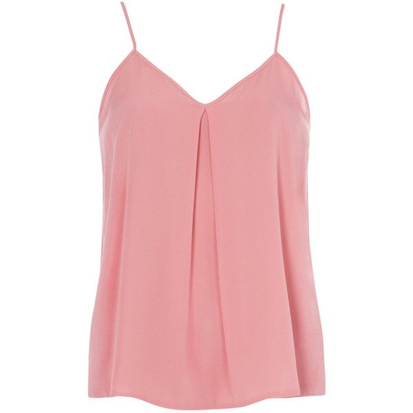 Dorothy Perkins Pink Inverted Pleat Cami Top ($12) ❤ liked on Polyvore featuring tops, shirts, tank tops, tanks, blusas, pink, red singlet, red camisole, red tank top and cami tank tops