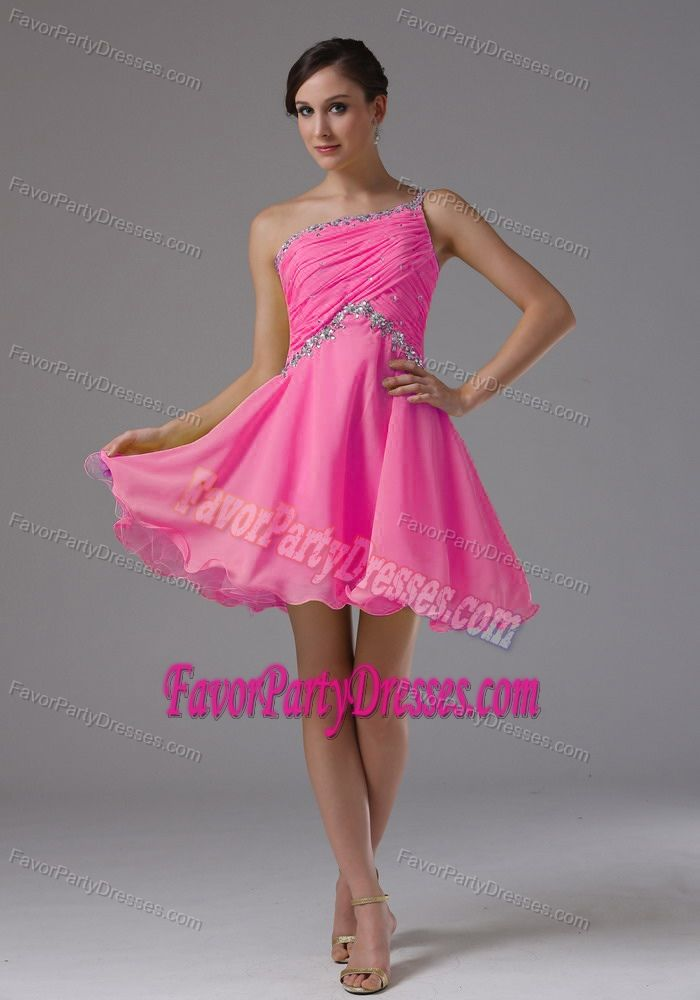 Top One Shoulder Beading Ruche Hot Pink Chiffon Birthday Party Dresses