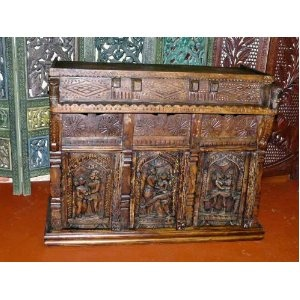 Hand Carved Kama Sutra Chest Sideboard Buffet Server India Free Ship
