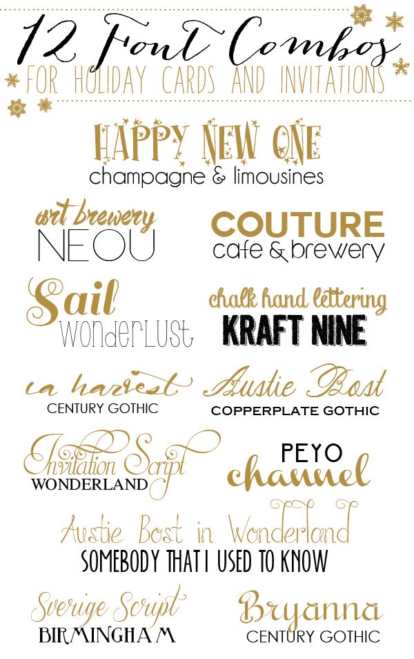 12 Font Combos for Holidays Cards and Invitations - Yellow Bliss Road