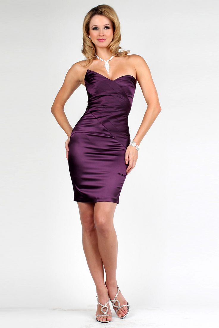 Sweetheart-Satin-Zipper-Wrap-Dark-Purple-Cocktail-Dress-