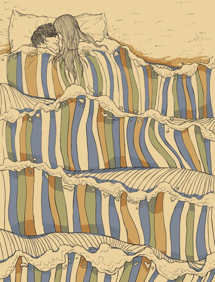 Psychedelic Drawings of Imaginary Lovers Formed By the Sea