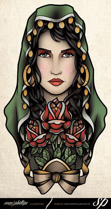 Gypsy Holding Flowers Tattoo by Sam-Phillips-NZ.deviantart.com on @deviantART