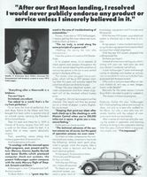 VW Bug with Buzz Aldrin 1972 Ad Picture