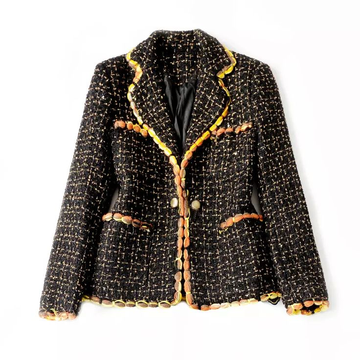 Cheap and qualified biker leather jackets, womens leather coats and wool jackets with many kinds are gathered here. Wholesale price of 2016 autumn and winter new arrival of simple elegance noble luxury brand channel manual woven gold black tweed ladies short jacket can be found here from june2015 's shop.