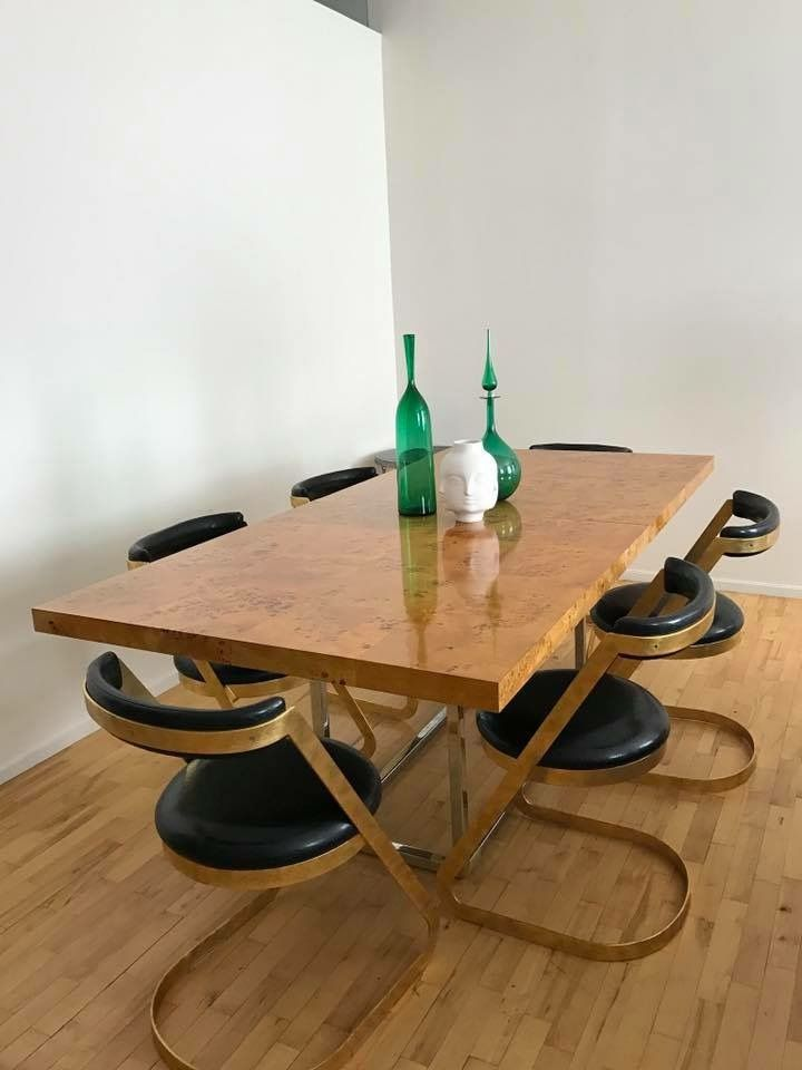 Jonathan Adler Burled Bond Dining Table With 6 Dwell Chairs Chairs Are Cheap But Kind Of Chic I Dining Room Table Decor Dining Table Dining Room Inspiration