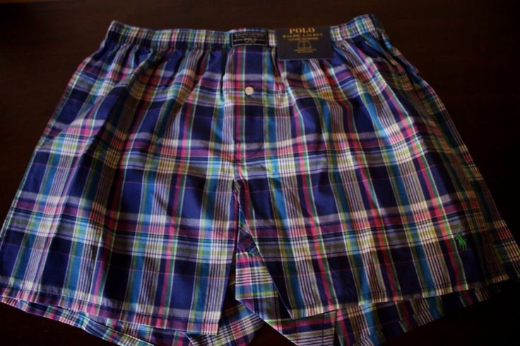 Ralph Lauren Polo Classic Fit Boxer Shorts Blue Green Pink Plaid Large XL NEW #RalphLauren #Boxer