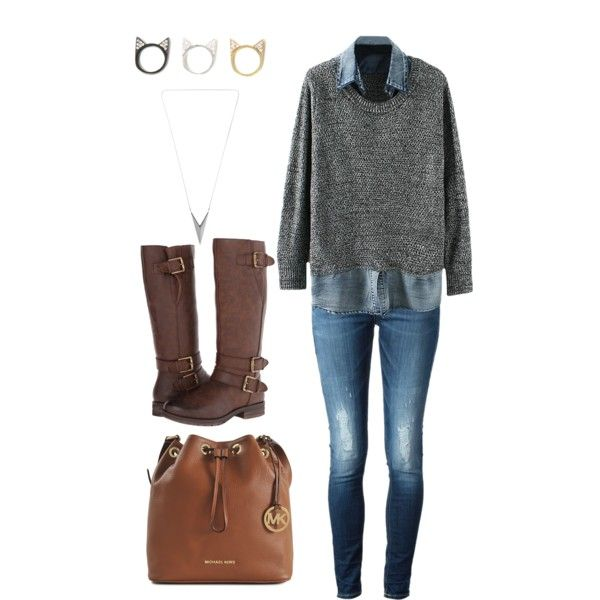 A fashion look from November 2014 featuring Dondup jeans, Naturalizer boots and Michael Kors shoulder bags. Browse and shop related looks.