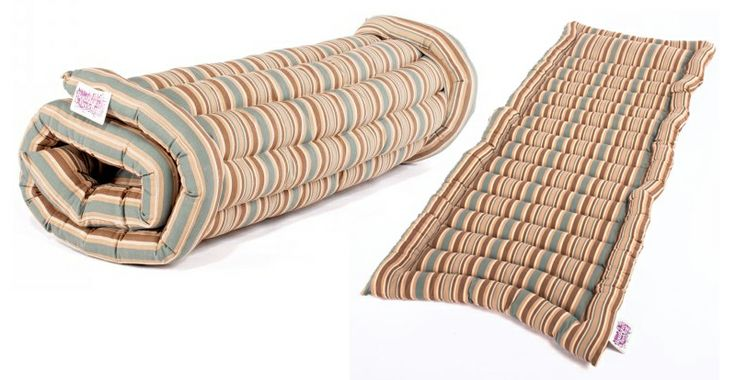 Folding luxury bedding rolls ideal for glamping from Boutique Camping .