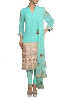 Sea Blue Salwar By Varun And Nidhika Rs 28550