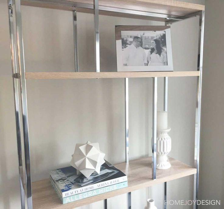 HOME JOY DESIGN | Family room open shelf styling