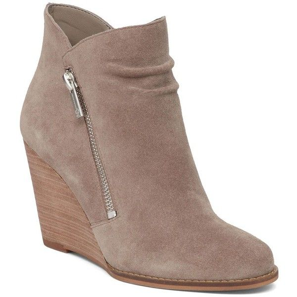 Jessica Simpson Cornella Suede Wedge Boots ($73) ❤ liked on Polyvore featuring shoes, boots, ankle boots, grey, gray ankle boots, wedge ankle boots, grey wedge boots, wedge boots and gray suede boots