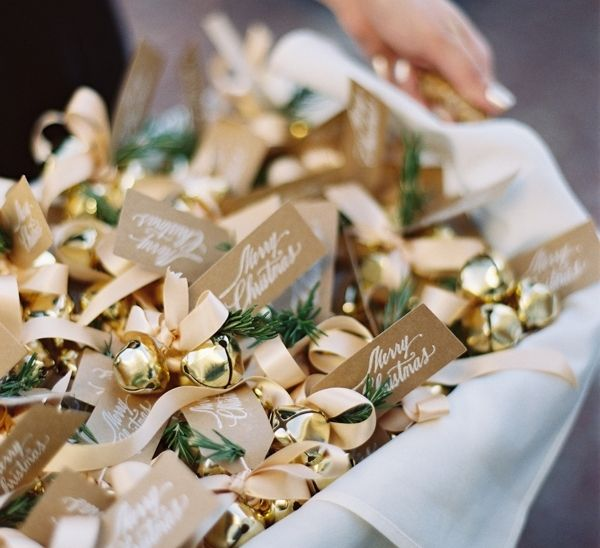 Love this bell favor idea for a holiday time wedding | Winter Wedding by Jessica Sloane and Tec Petaja