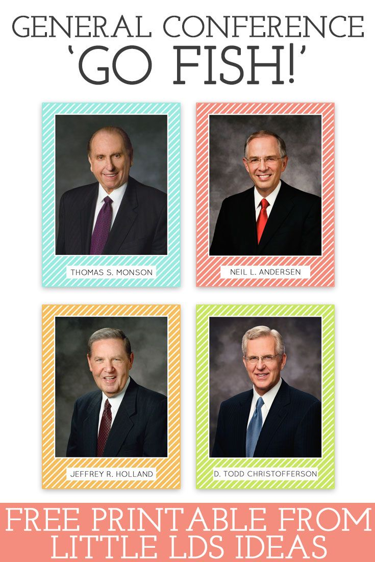 General Conference Go Fish. These Apostle Cards are perfect for a fun game of 'Go Fish' or 'Find the Prophet' or to simply use as flashcards. Free printable from Little LDS Ideas via @https://www.pinterest.com/littleldsideas/