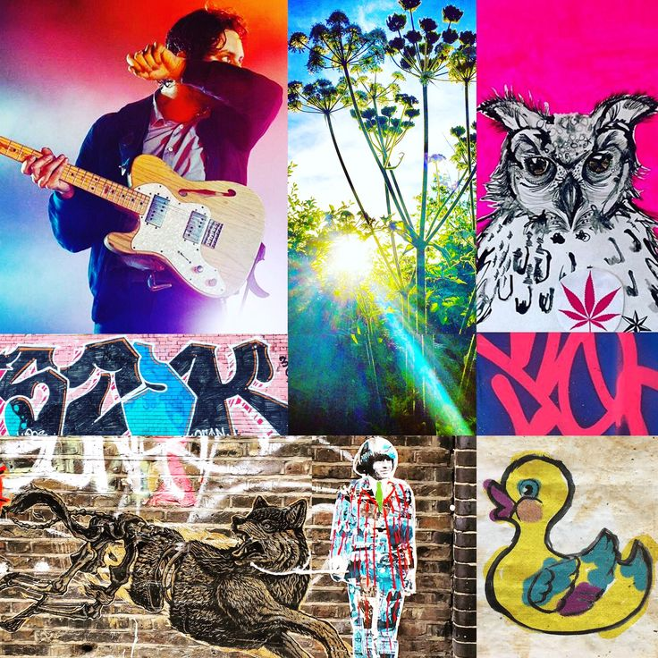 Photomontage Mashup by Lizzie Reakes - Felix White (shotbyphox), cowparsley, streetart brick lane, duck (neonsavageart) owl ink drawing (Lizzie Reakes)