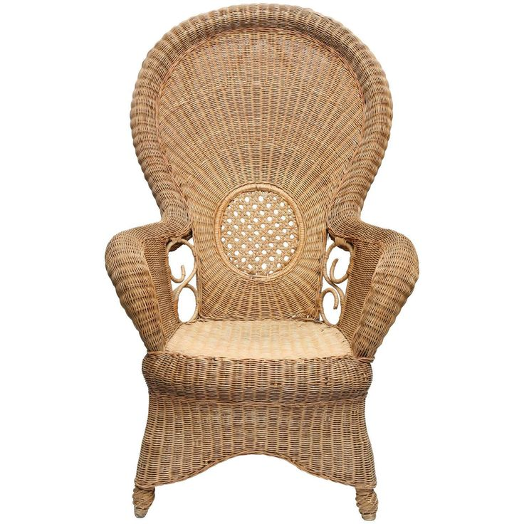 Large French Provincial Vintage Rattan Armchair on ...