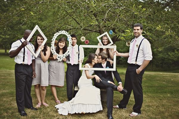 Cute wedding party photos with frames.