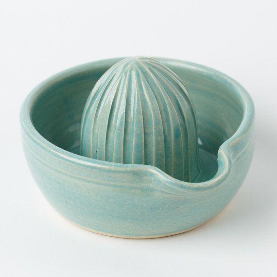 Citrus Juicer - juicer - ceramic juicer - pottery juicer - handmade - wheel thrown - ready to ship - turquoise blue - light blue - Color Pop