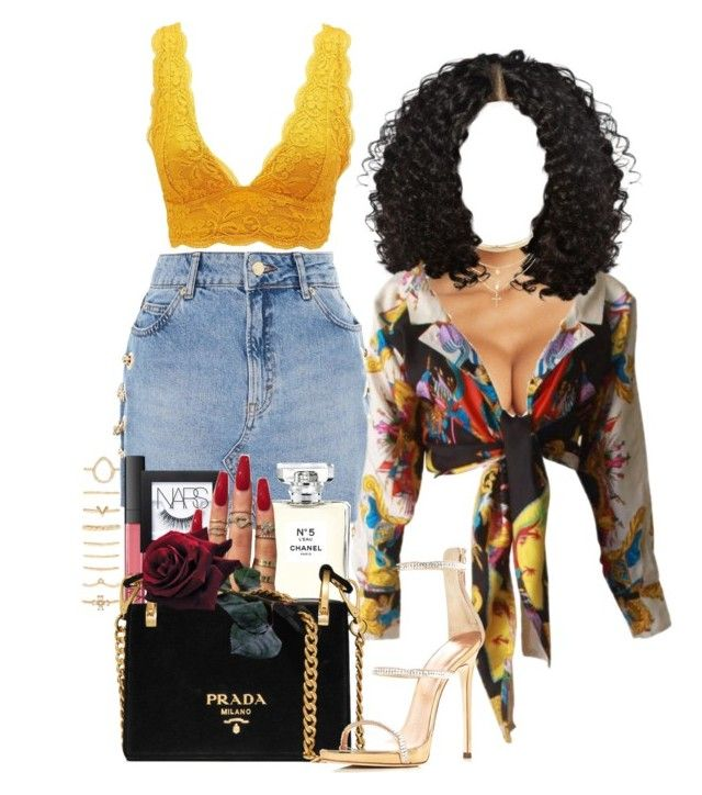 """""""DJ Khalid -Wild Thoughts"""" by melaninprincess-16 ❤ liked on Polyvore featuring La Perla, Topshop, Versace, Charlotte Russe, Chanel, NARS Cosmetics, Prada, Giuseppe Zanotti and Forever 21"""
