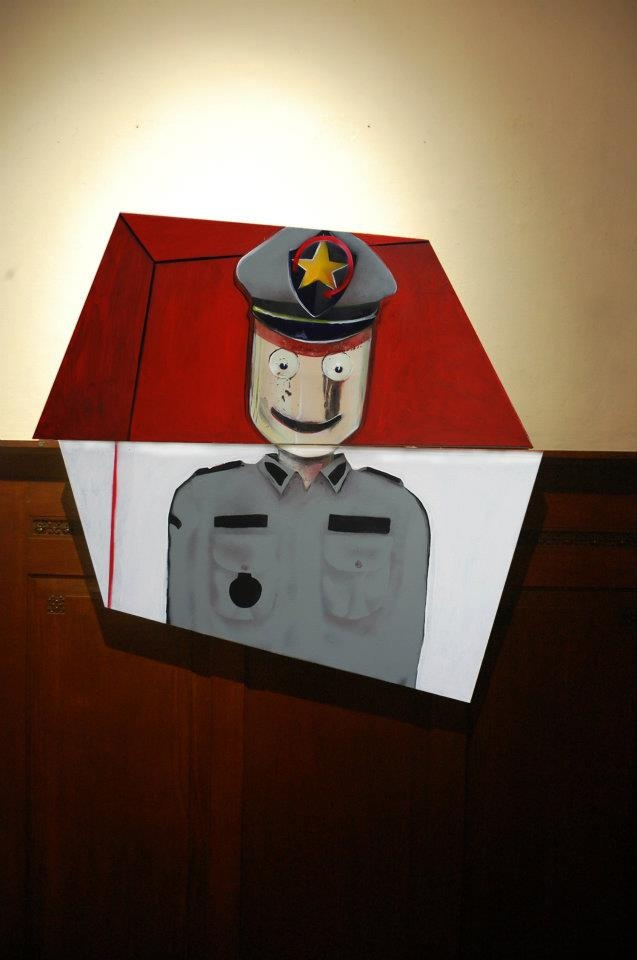 di Depan Warrna Merah dan Putih #9  (puppet police)  110 x 102 cm #art #artists #painting #expretion #face #urban #uniqueshape