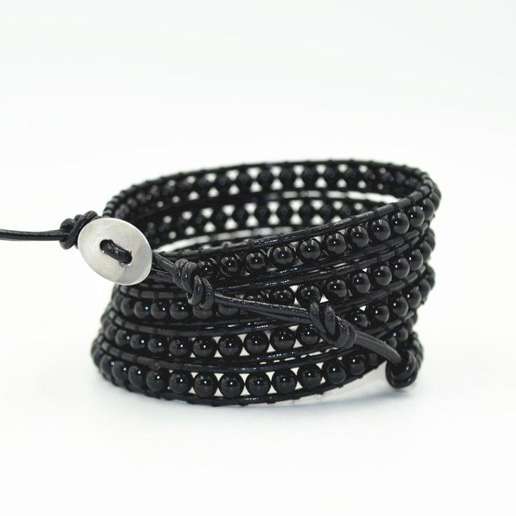 Новый Многослойные Браслеты Для Женщин и Мужчин Каменных бус на Черный кожаный браслет браслеты mujer JBN 9315 купить на AliExpress