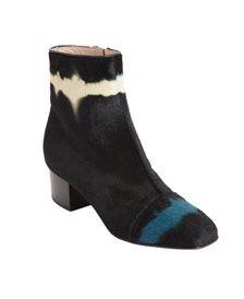 DRIES VAN NOTEN  Dyed ponyhair ankle boot