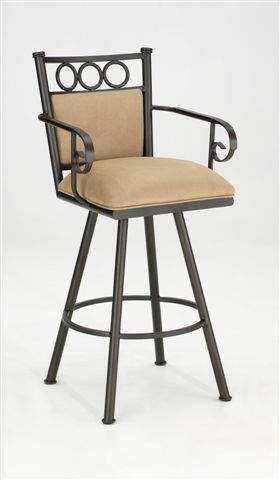 """Iron Mountain IM8802-01026-T Tate Swivel counter Stool 26"""" Height with Arms and padded back Welded Steel Frame"""