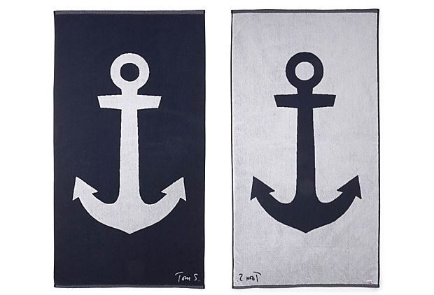 getting prepped for summer!Anchors Aweigh, Beach Towels, Beach House, One King Lane, Anchors Beach, Slaughter Anchors, Products, Tom Slaughter, Anchors Towels