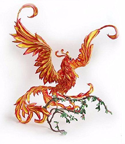 """Phoenix figurine """"Animated fire"""",Phoenix on the branch,Firebird figurine,Fire-bird statuette,sculpture. Phoenix (Firebird) - living fire; power and heat, hidden in a living being. I have seen many images of the Phoenix (Firebird), but have always wanted to do more than figure - a figure that can be taken in hand. Which has a volume - real :) This Firebird is not a figure, namely three-dimensional figurine is made from light and pleasant to the touch material - velvet plastic. Despite the..."""