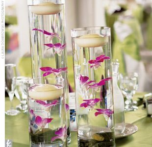Submerged purple orchid centerpieces