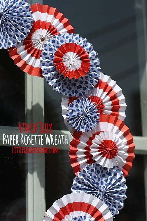 Fourth of July Wreath - Perfect for Patrotic decorations! Made from Paper Rosette Wreath    littleredwindow.com
