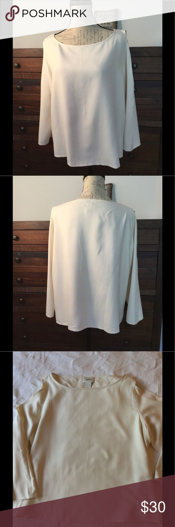 Neimen Marcus Shoulderless Blouse Neiman Marcus blouse, long sleeves, open shoulders.  100% Silk.  Soft & fluid very fun Top with open shoulders  dressy or casual Neiman Marcus Tops Blouses